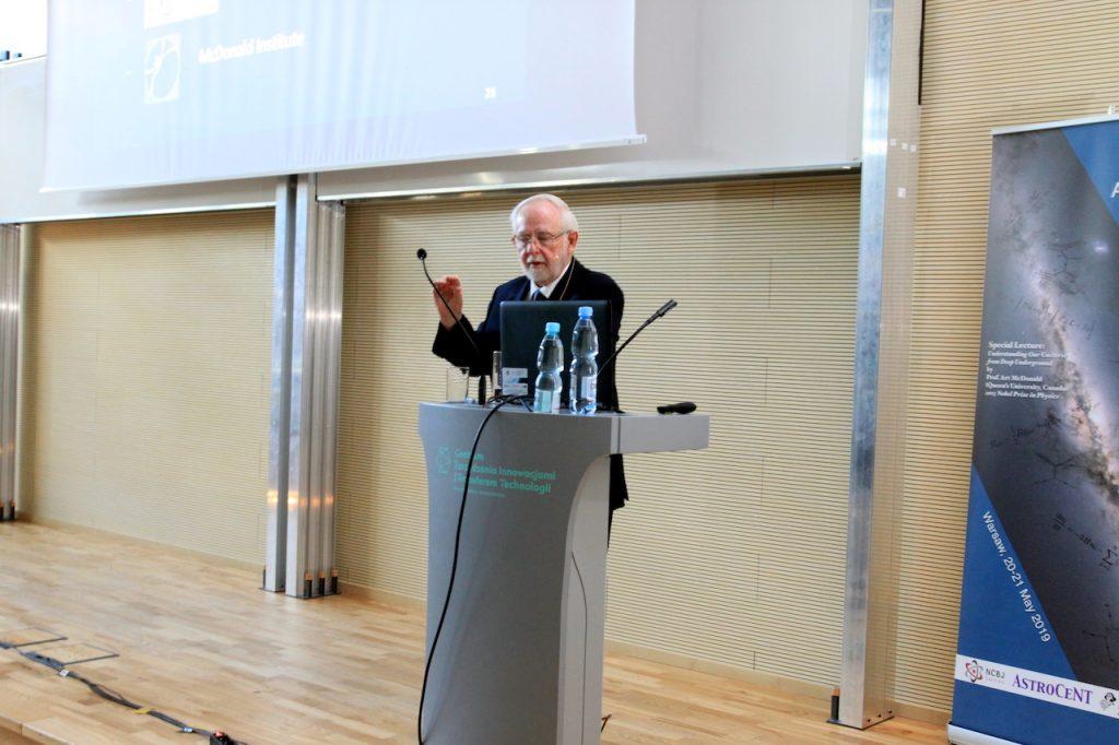 Dr A. McDonald giving a public lecture.